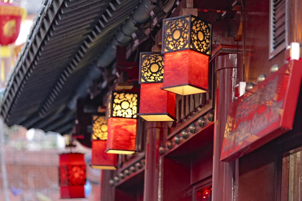 red street lanterns in China